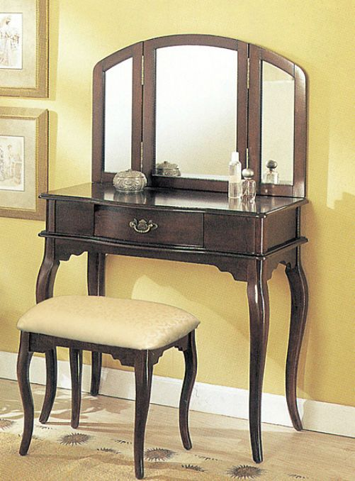 Vanity Table Set Mirror Stool Brown Bedroom Furniture Dressing Table Makeup Desk #VanityTableSet