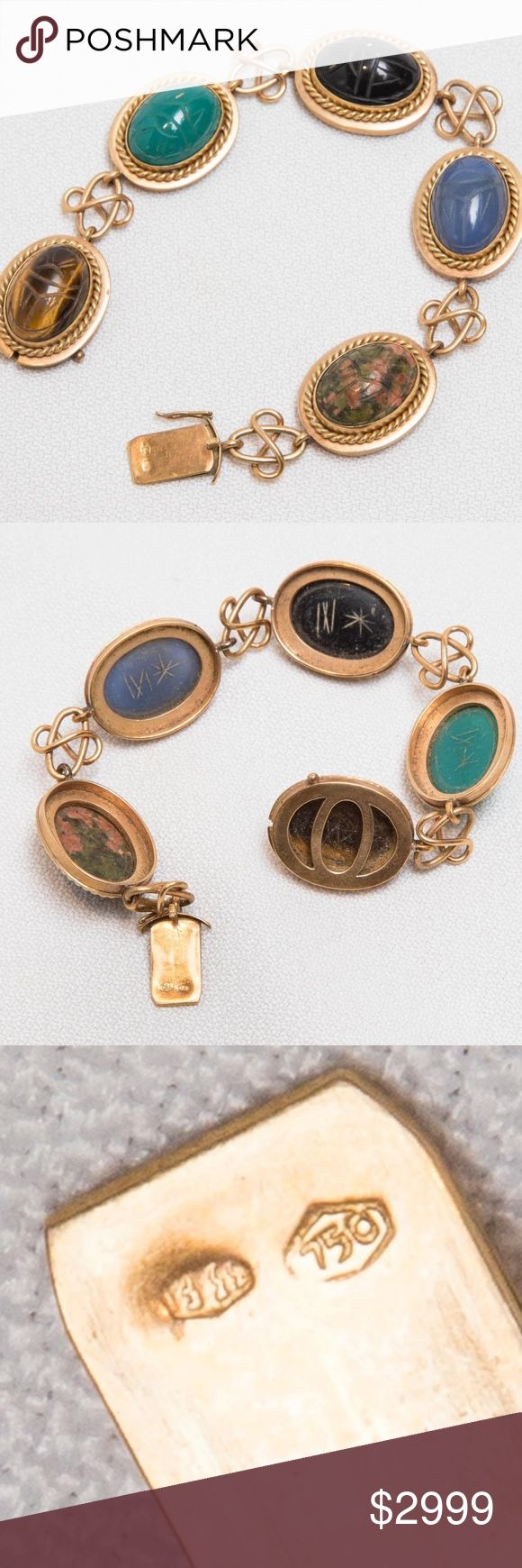 """Vintage 18K Gold Scarab Bracelet Knot Like Links in great condition hand made 25 dwt gross weight 18K gold, tested  measures 7-1/2"""" long Jewelry Bracelets"""