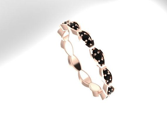 Black Diamond 3/4-Way Band Matching Ring 14K Rose Gold Band - V1063 on Etsy, $540.00