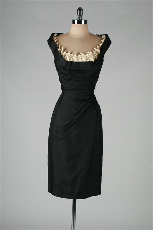 ~Vintage 1950's Silk Shelf Bust Wiggle Dress~