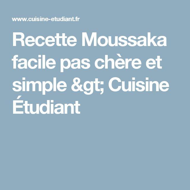 Recette Moussaka facile pas chère et simple > Cuisine Étudiant