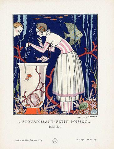 L'etourdissant Petit Poisson by George Barbier USD $245 Gazette du Bon Ton pochoir fashion plates 1912 #fashion #pochoir