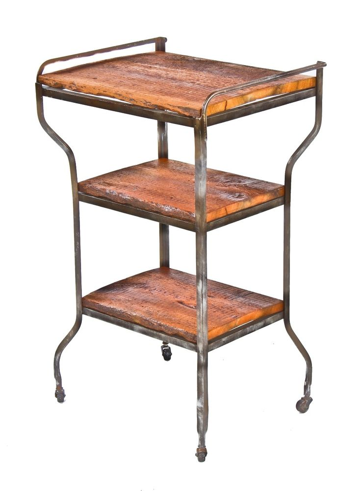 heavy gauge angled steel antique american medical three-tier cook county hospital supply stand with newly added shelves