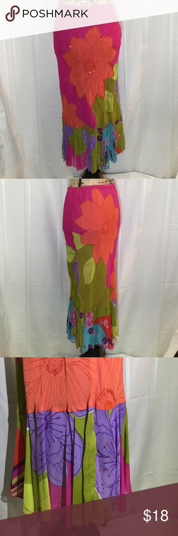 "RENE DERHY Pink/Green Floral Maxi Fluted Skirt Rene DERHY is known for vintage Boho style. Sequined Skirt has elastic waist and wide gathered ruffle hem. Full lined. Sequins in good shape except as shown. Length 33"", waist 14"" flat. Rene Derhy Skirts Maxi"