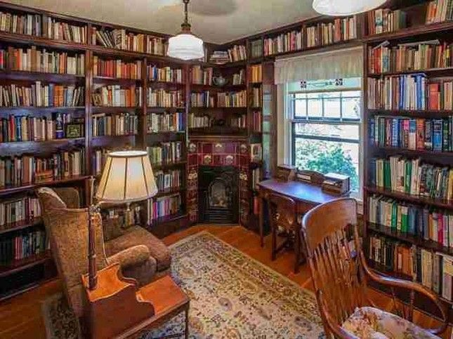 Love The Corner Fireplace In This Little Library Bookshelves Reading Nook Home Libraries