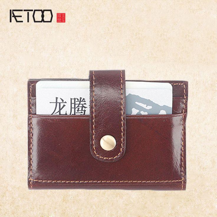 AETOO Ultra-thin convenience card pack head oil wax cowhide on the card bit card
