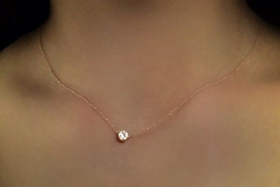 14k Gold .15 carat Solitaire Diamond Necklace by cestsla on Etsy