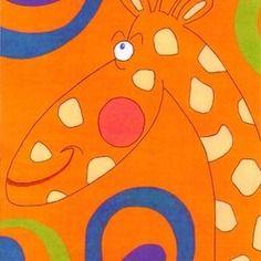 """Tableau pour chambre d'enfant ou bébé : girafe sympa, """"Décontract!"""". Acrylique sur toile, 30x24cm. Signé. En vente."""