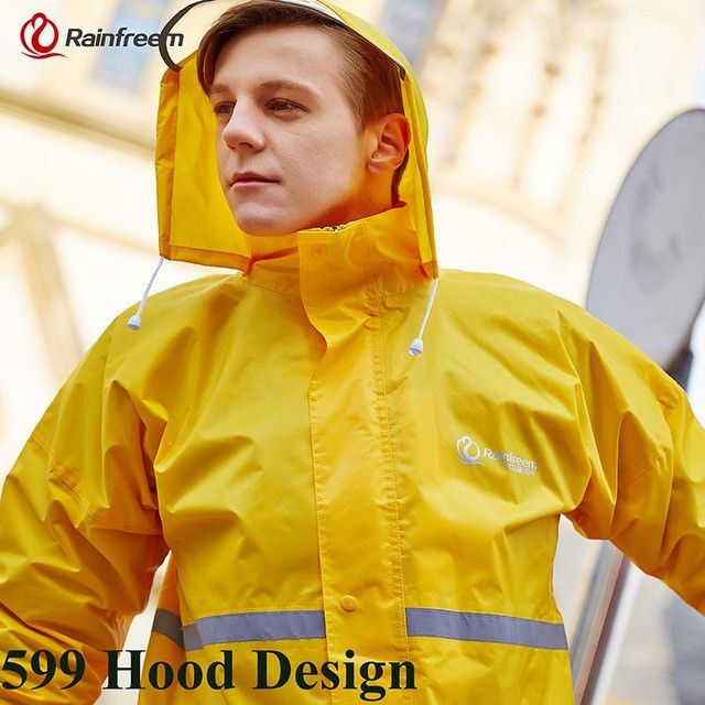 Rainfreem Raincoat Suit Impermeable Women/Men Hooded Motorcycle Poncho Motorcycle Rainwear S-6XL Hiking Fishing Rain Gear