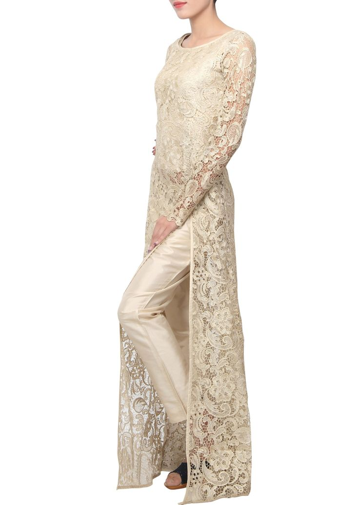 Gold straight fit suit enhanced in chantilly lace