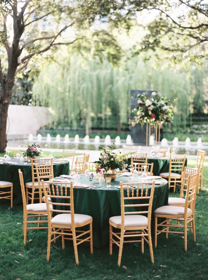 Vintage gold and emerald green tablescape: http://www.stylemepretty.com/2016/09/22/this-wedding-incorporated-smps-favorite-trends-of-the-year/ Photography: Apryl Ann - http://www.aprylann.com/