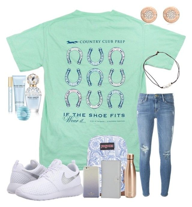 """1/25/17"" by ctrygrl1999 ❤ liked on Polyvore featuring Southern Proper, Frame, NIKE, JanSport, S'well, Kate Spade, Michael Kors, Marc Jacobs and Eos"