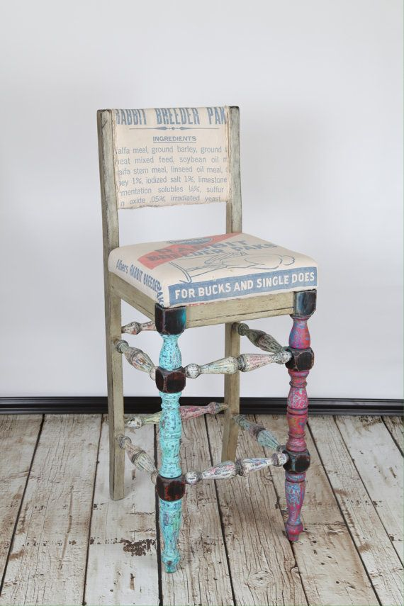 Unique Bar Stool Colorful Vintage Rustic Distressed Vintage Rabbit Feed  Sack Blue Red Green Tan White