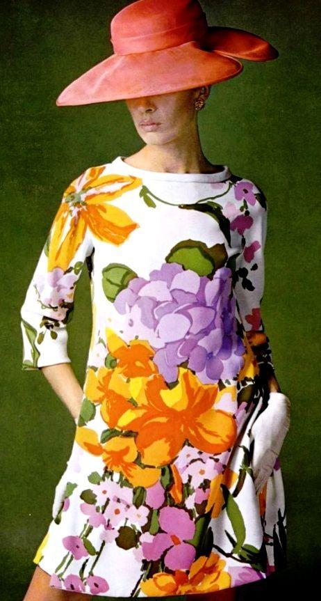 #vintage floral print dress by Castillo, 1967