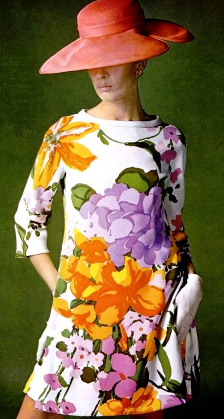 Vibrant floral print dress by Castillo, 1967