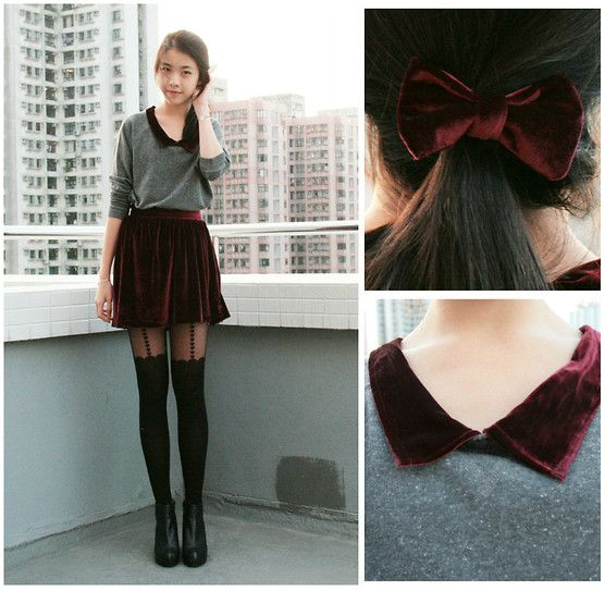 velvet and tightsVelvet Skirts Diy, Diy Velvet, Black Boots, Red Velvet, Diy Clothing, Fashion Blog, Bows, Fashion Inspiration, Diy Outfit