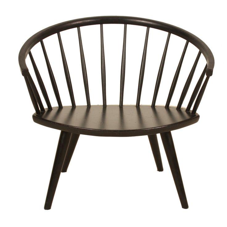 Swedish Yngve Ekström wooden chair oval sculptural | 1stdibs.com