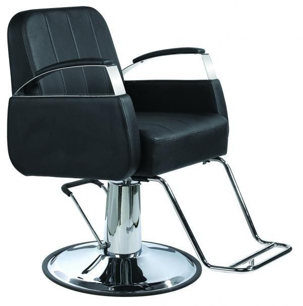 Black styling chair with chrome arms This chair has Sleek, Clean Lines and lots of chrome. One year warranty for the pump and the base.