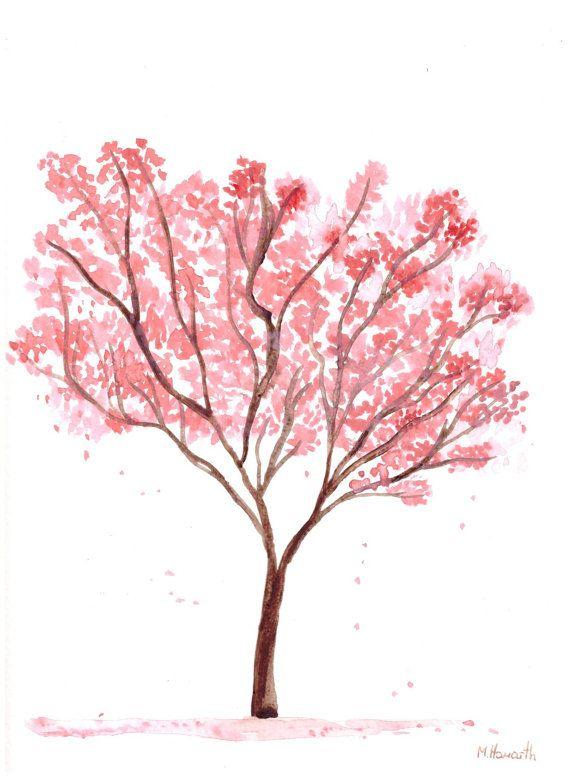 Pink tree watercolour painting pink flowers art original