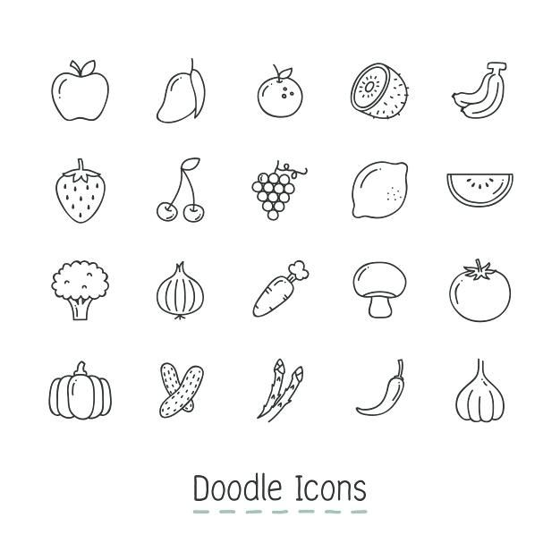 Desenhos De Frutas Legumes E Verduras Para Colorir Doodle A Cones
