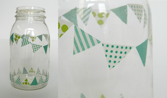 Fun and Easy washi tape DIY - tutorial: cut triangles out of washi tape and style in a banner around a jar.