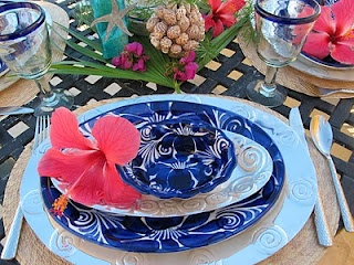 coral blue dining ware