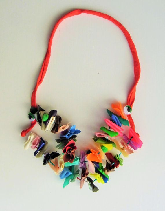 Handmade bib necklace This original and colorful necklace measures approx 31 inch (80 cm)  it was made with an explosion of colorful latex material that