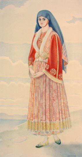 Νυφική φορεσιά από την Σκύρο, Σποράδες - Bridal costume from Skyros, Sporades Islands. Chatzimichali Angeliki, Ελληνικαί Εθνικαί Ενδυμασίαι (Greek National Costumes). Athens: Benaki Museum, 1948