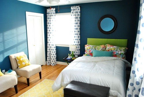 teal + lime + yellow room decor: Wall Colors, Yellow Rooms, Bedrooms Colors, Bedrooms Design, Blue Wall, Bedrooms Interiors Design, Paintings Colors, Colors Schemes, Guest Rooms