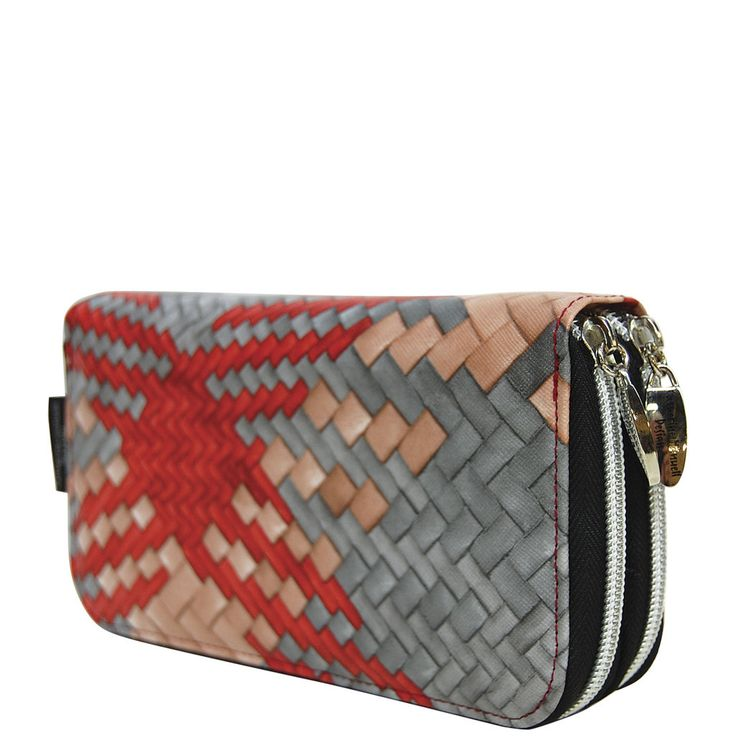Double Wallet - Red Tan Grey Weave - Catherine Manuell Design