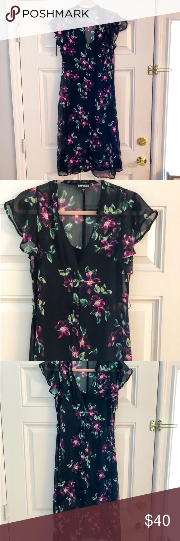 Express Floral Flutter Sleeve Dress, size 6! Express Floral Flutter Sleeve Midi Dress, size 6.  Worn only once and in perfect condition!  Semi-sheer fabric drapes dramatically over your curves, while a tie-neck adds dimension to your look. Pair with your favorite sandals and sparkly jewelry for a sultry, feminine ensemble. Midi length Tie-neck; v-neck Short sleeves Full button front; semi-sheer; straight hem Polyester Hand wash Express Dresses