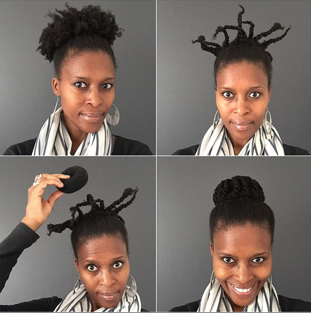 Add texture to your top knot...natural hair