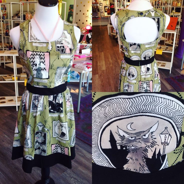 Ghoulish dress with handblown glass necklace