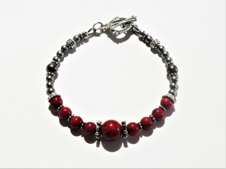 Yin Yang Bracelet - Red Coral and Riverstone