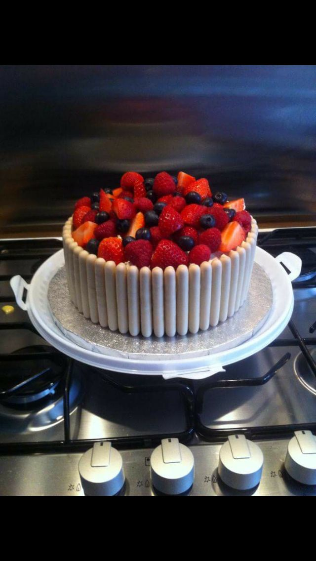 Fresh Cream Cake with fresh fruit and white chocolate fingers.!