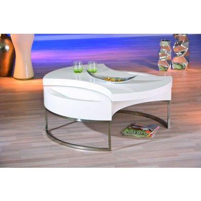 Table basse ronde avec rangement coloris blanc et acier for Table basse tele