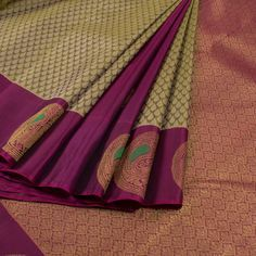 Handwoven Green & Purple Jacquard Kanchipuram Silk Saree With Raindrop Motifs, Hamsa Border & Partly Pallu 10012931 - AVISHYA.COM