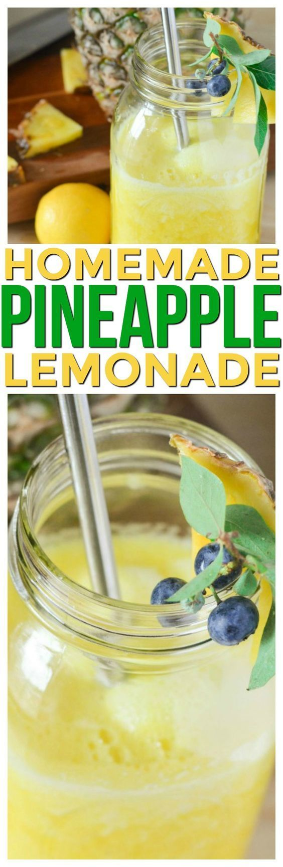 This frosty Pineapple Lemonade Recipe Homemade is perfection! Make it if you need a refreshing drink or homemade drink recipes nonalcoholic for kids it's a healthy summer beverage. via @KnowYourProduce Come and see our new website at bakedcomfortfood.com!