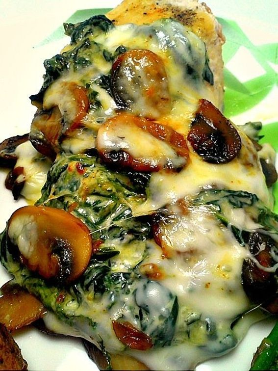 Smothered Chicken w/Mushrooms and Spinach- prepare chix breast by seasoning it with garlic salt basil etc and bake 350* for about 30min or until done.. (meanwhile) chop 3 cloves garlic, bag of fresh baby spinach, and mushrooms and saute until tender and then add 2T. cream cheese .. put on top of the chicken and add 1/4c. shredded mozzarella to top.. heat in oven til melted (10 min)