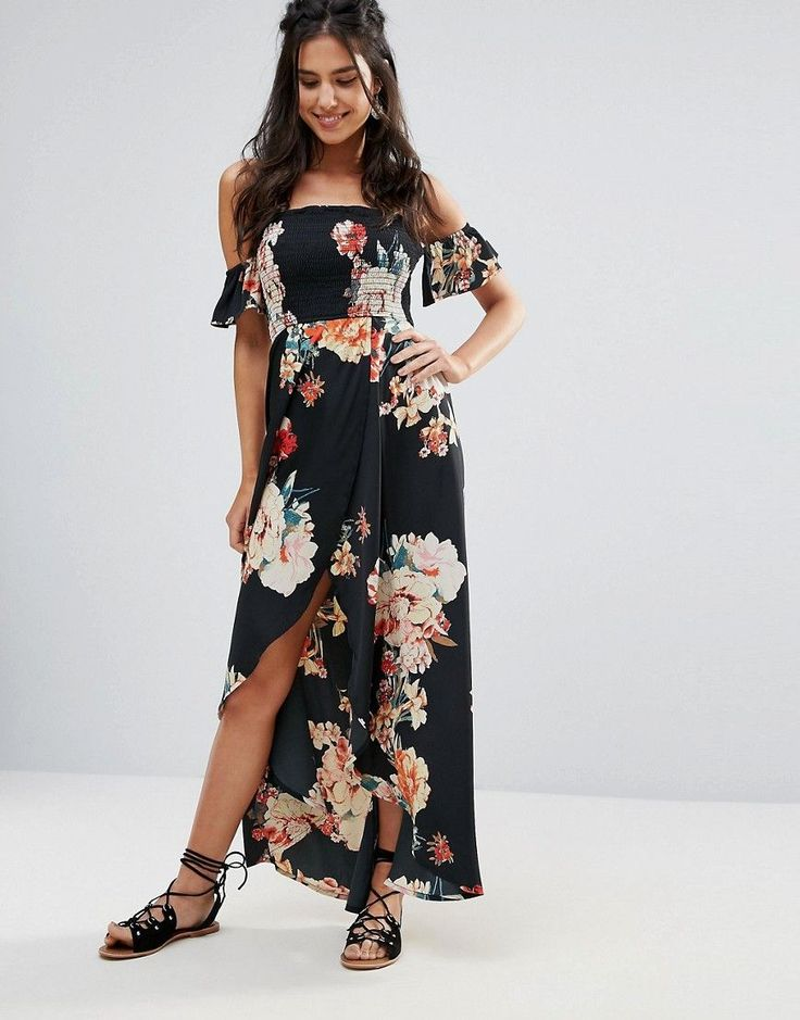 Buy it now. Band Of Gypsies Off Shoulder Floral Festival Maxi Dress - Black. Maxi dress by Band of Gypsies, Smooth woven fabric, All-over floral print, Off-shoulder neck, Ruffle cuff detail, Wrap skirt, High-low hem, Shirred stretch back, Regular fit - true to size, Hand wash, 100% Polyester, Our model wears a UK S/EU S/US XS and is 173cm/5'8 tall. With a care free spirit, Band of Gypsies, draws inspiration from global travel and vintage fashion throughout their collections. Inspired by the…