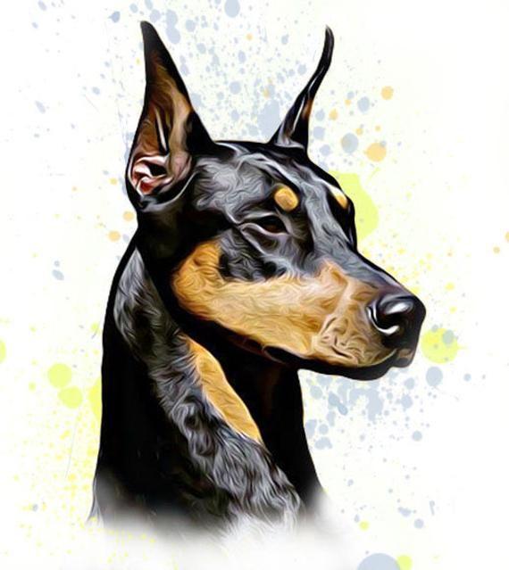 Doberman Art Dog Art Pet Loss Pet Memorial Custom Doberman Pet Portrait Personal Pet Portrait Pet Decor Doberman Painting