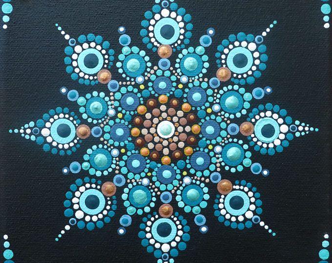6 x 6 in Mandala-Malerei auf Leinwand