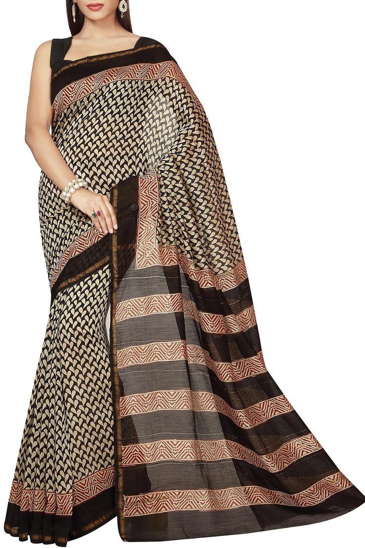 Beige Black & Brown Petals Dabu Batik Print Zari Border Chanderi Cotton Silk Saree