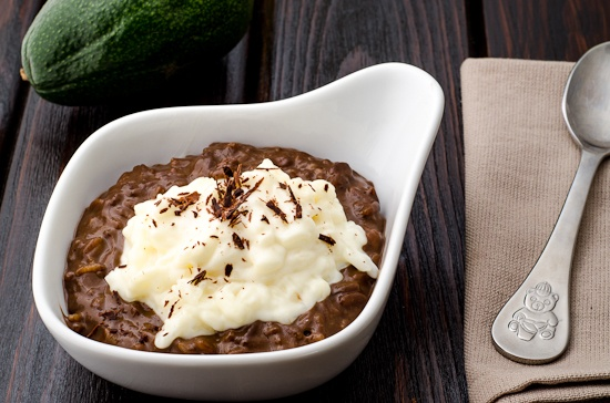 rice pudding with chocolate and avocado