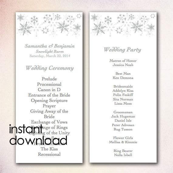 DIY Wedding Program Template Instant Download By CheapoBride 700