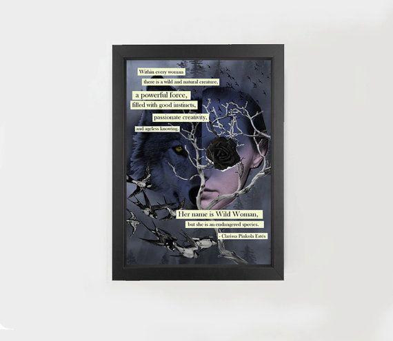Digital download, original collage print, wolf, woman, motivational quote #collage #wolf #woman #motivational #quote #inspirational #print #digital #download #birds #animals #tree