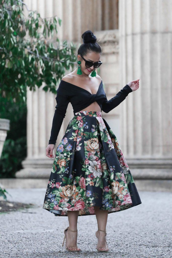 0478c9e80 KTRcollection floral black midi skirt | KTRCOLLECTION | Floral skirt ...