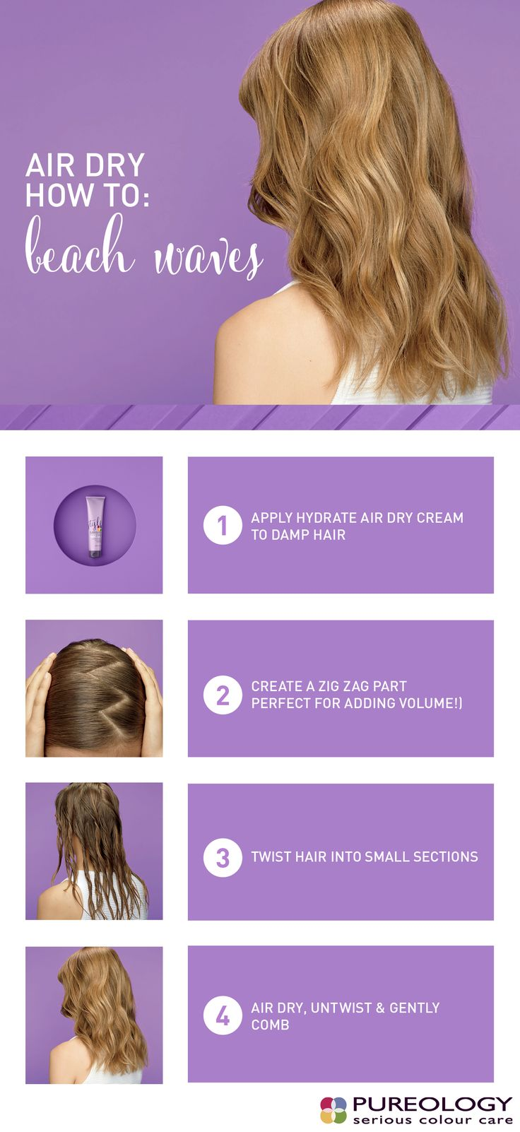 Check out this air dry how to and learn how to create effortless beach waves with our new Hydrate Air Dry Cream.  (PS - The zig zag part is the secret to creating volume!)