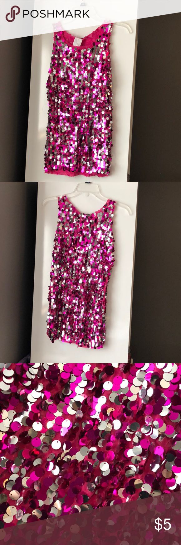 Pink sequin tunic 💕🎉 Pink sequin tunic. Cut in half for costume. A few pulls, price reflects condition. Super cute for a costume and NYE. Lots of life left. Length from shoulder: 26 inches. Non smoking Tops Tunics