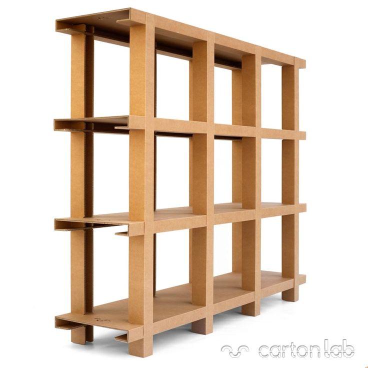 Estantería de cartón. Ligera y resistente. (Hasta 250kg de peso). Desmontable, ecológica. Diseñada en España por cartonlab con materiales certificados FSC.